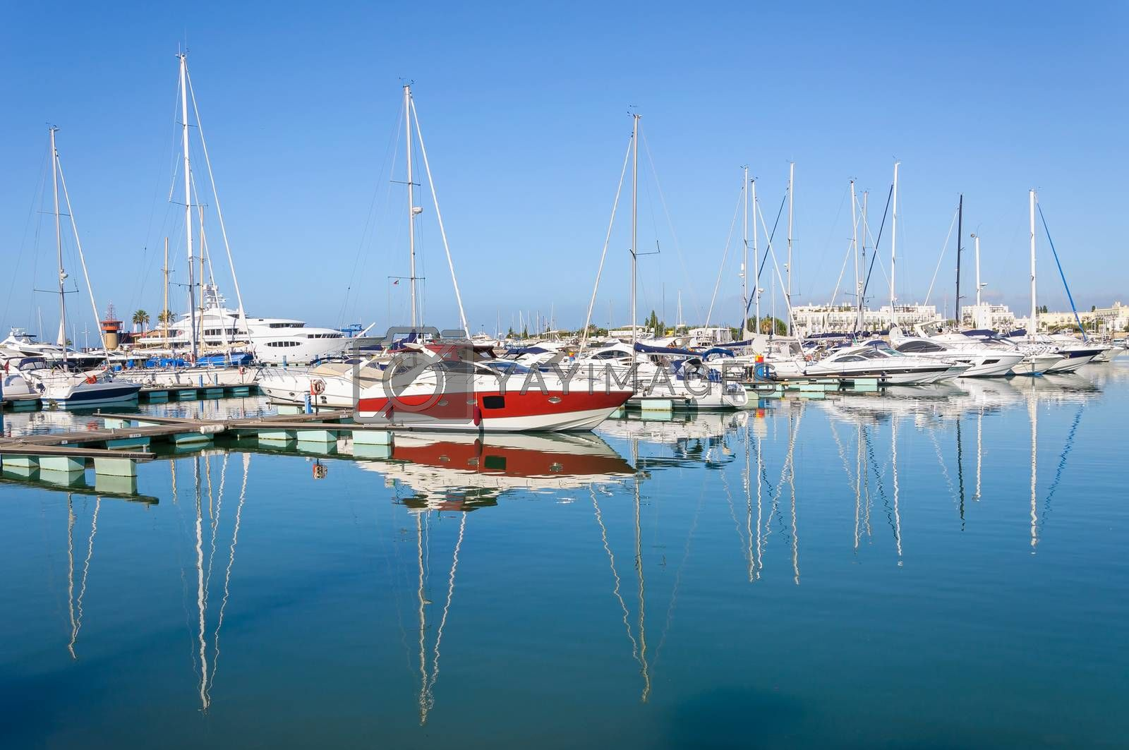 Luxury yachts moored in the port of Vilamoura, Algarve, Portugal
