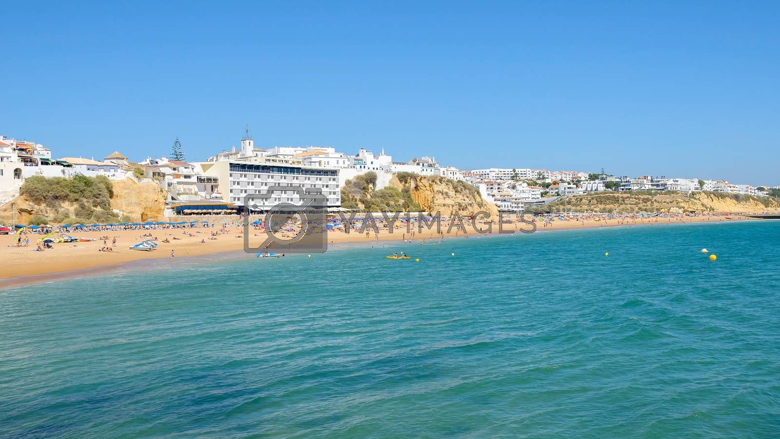 Panoramic view of crowded beach in Albufeira, Algarve, Portugal
