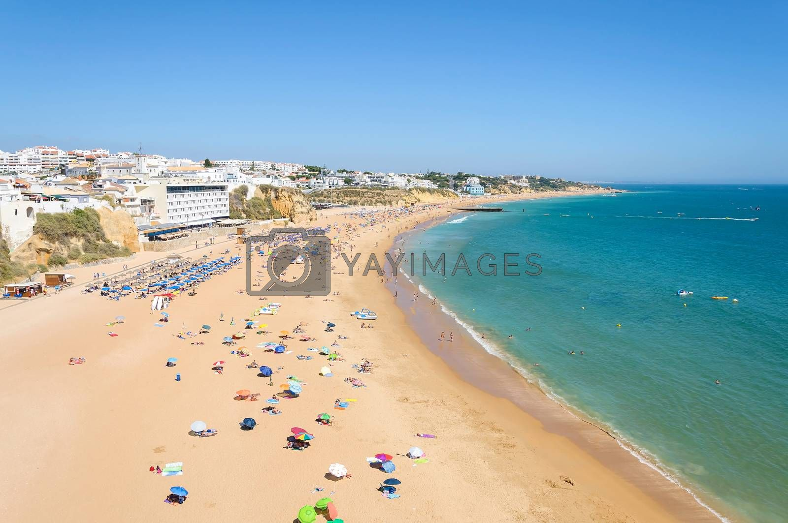 View of crowded beach in Albufeira, Algarve, Portugal