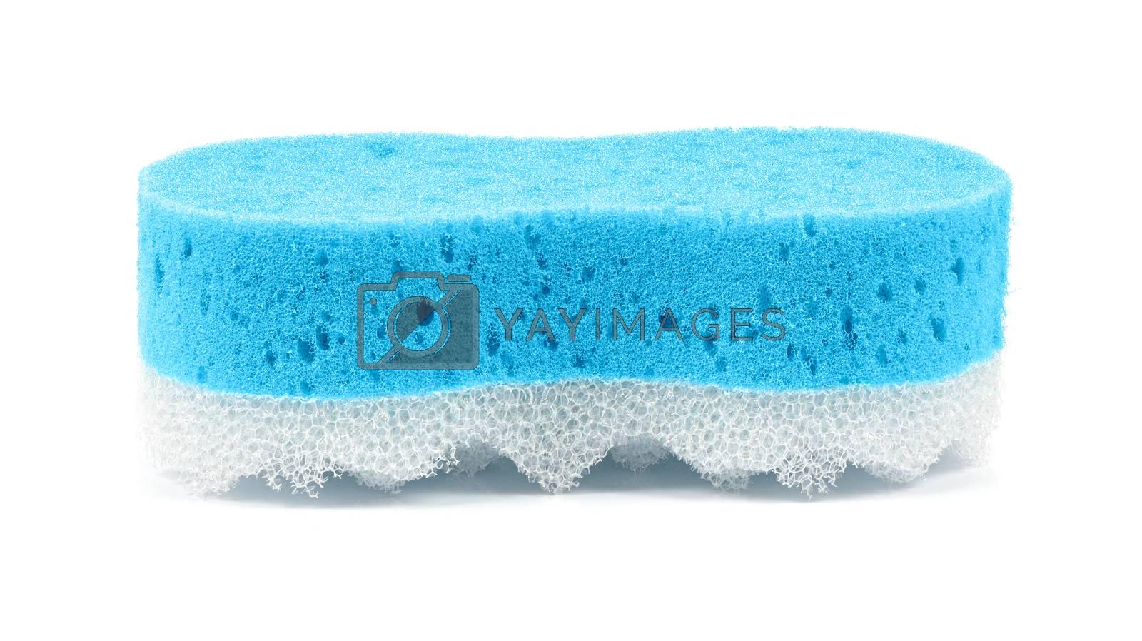 Blue bath massage sponge isolated on white background
