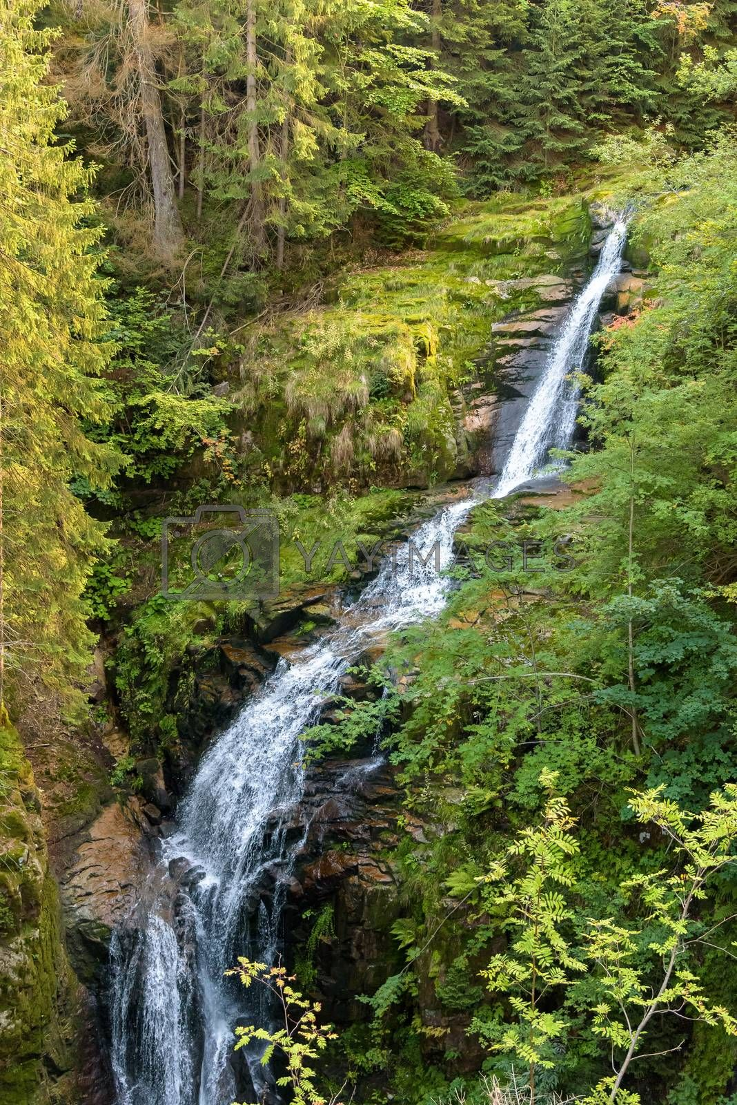 Waterfall of Kamienczyk river - the highest waterfall in polish Giant Mountains