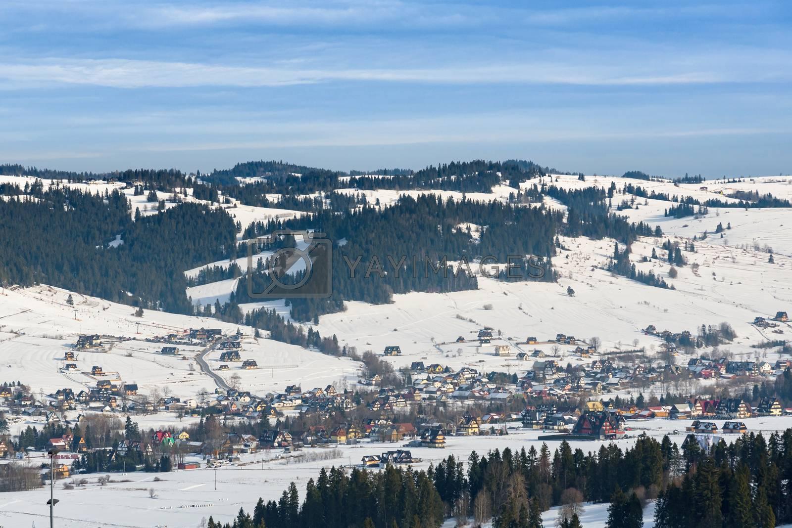 Aerial view of Bialka Tatrzanska village, famous ski resort in polish Tatra Mountains