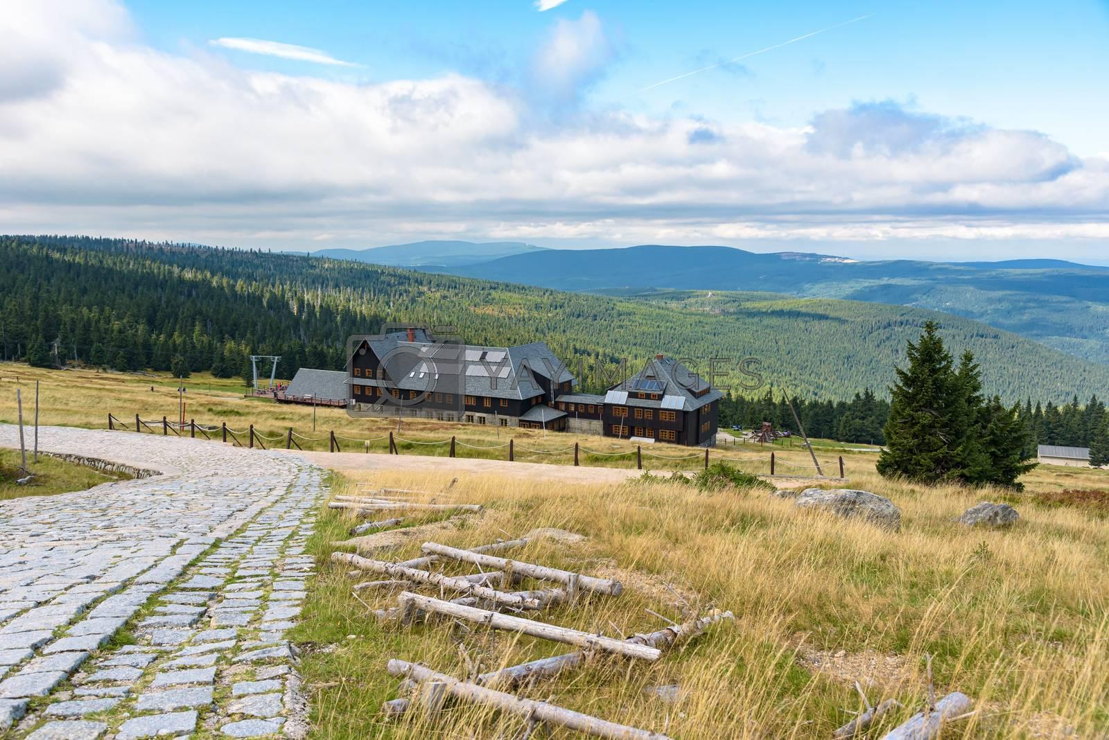 Summer view of mountain shelter at Hala Szrenicka in Giant Mountains near Szklarska Poreba in Poland