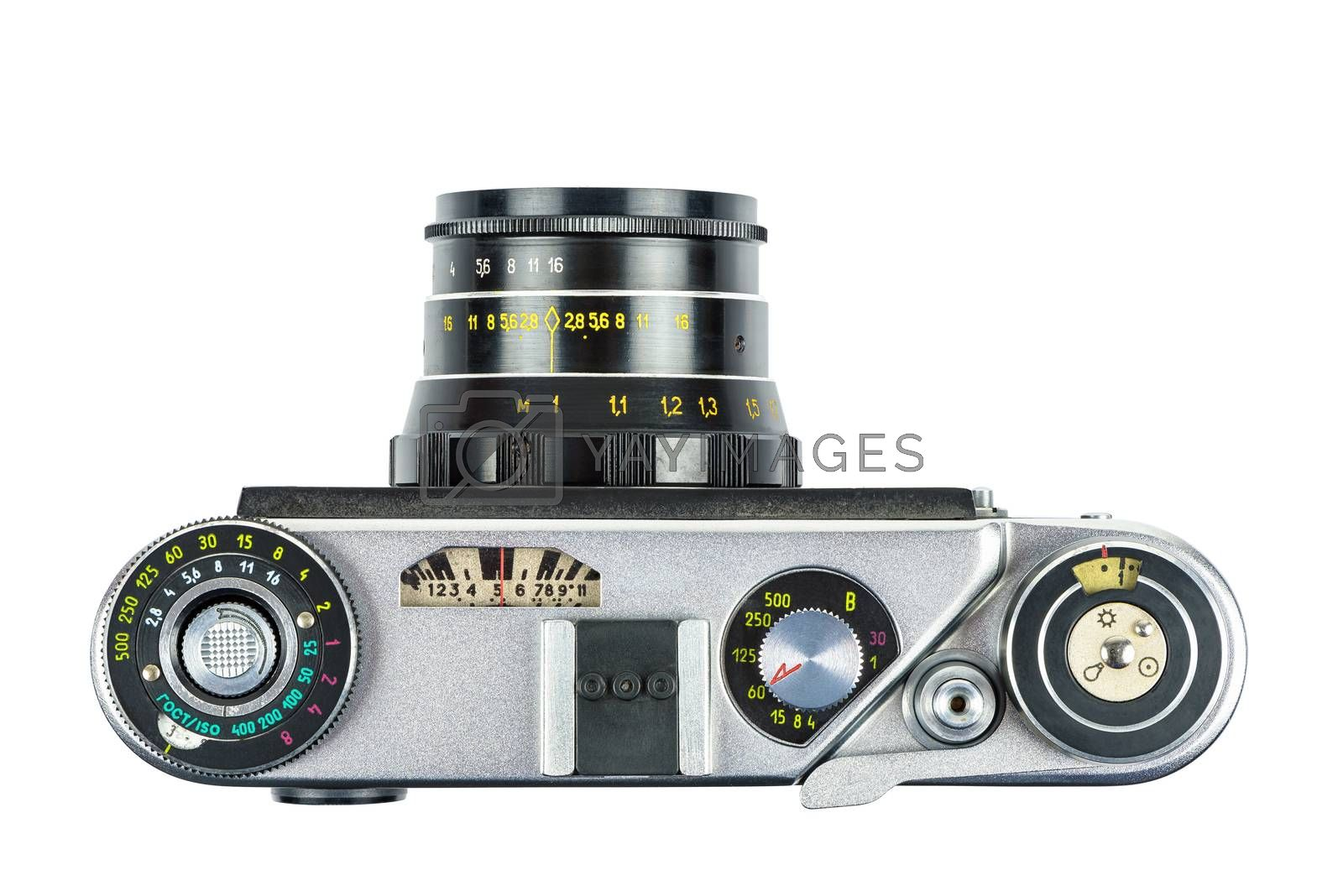 Top view of vintage analog camera isolated on white background with clipping path