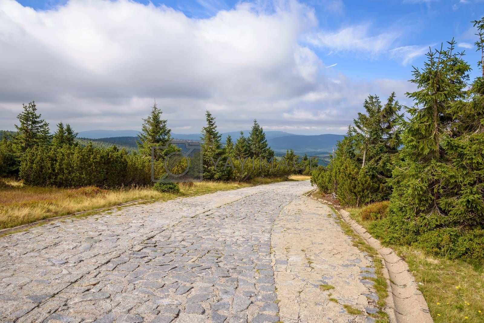 Main mountain trail in Giant Mountains on the border between Poland and Czech Republic