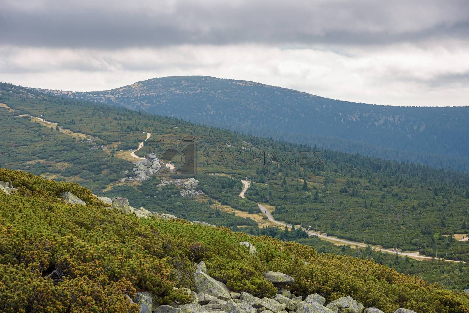 Aerial view of the main mountain trail in Giant Mountains on the border between Poland and Czech Republic