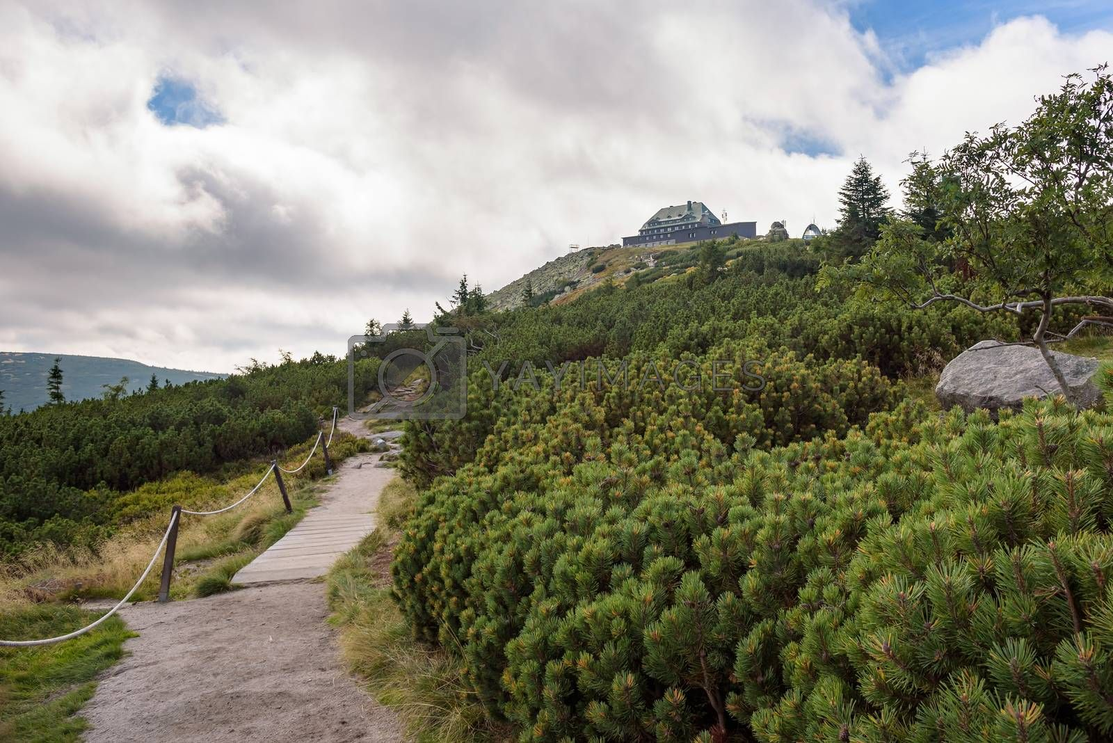 Path to shelter on Szrenica Mountain in polish Giant Mountains