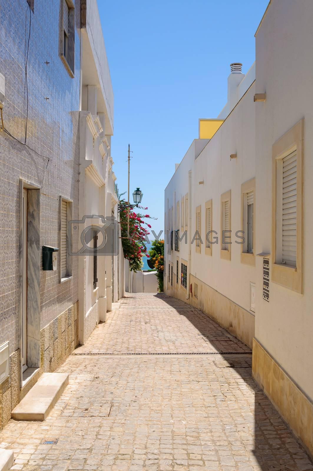 Picuresque narrow street in Albufeira, Algarve, Portugal