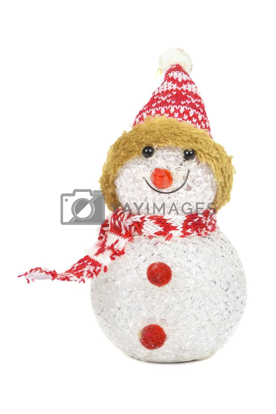 Glass snowman isolated on white background