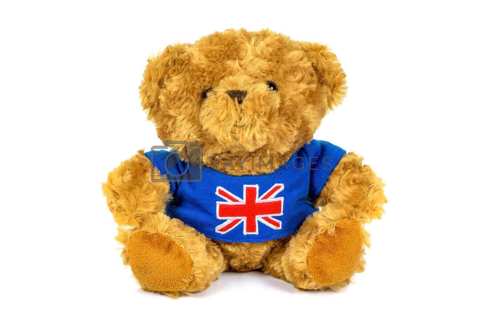 Teddy bear with UK flag isolated on white background