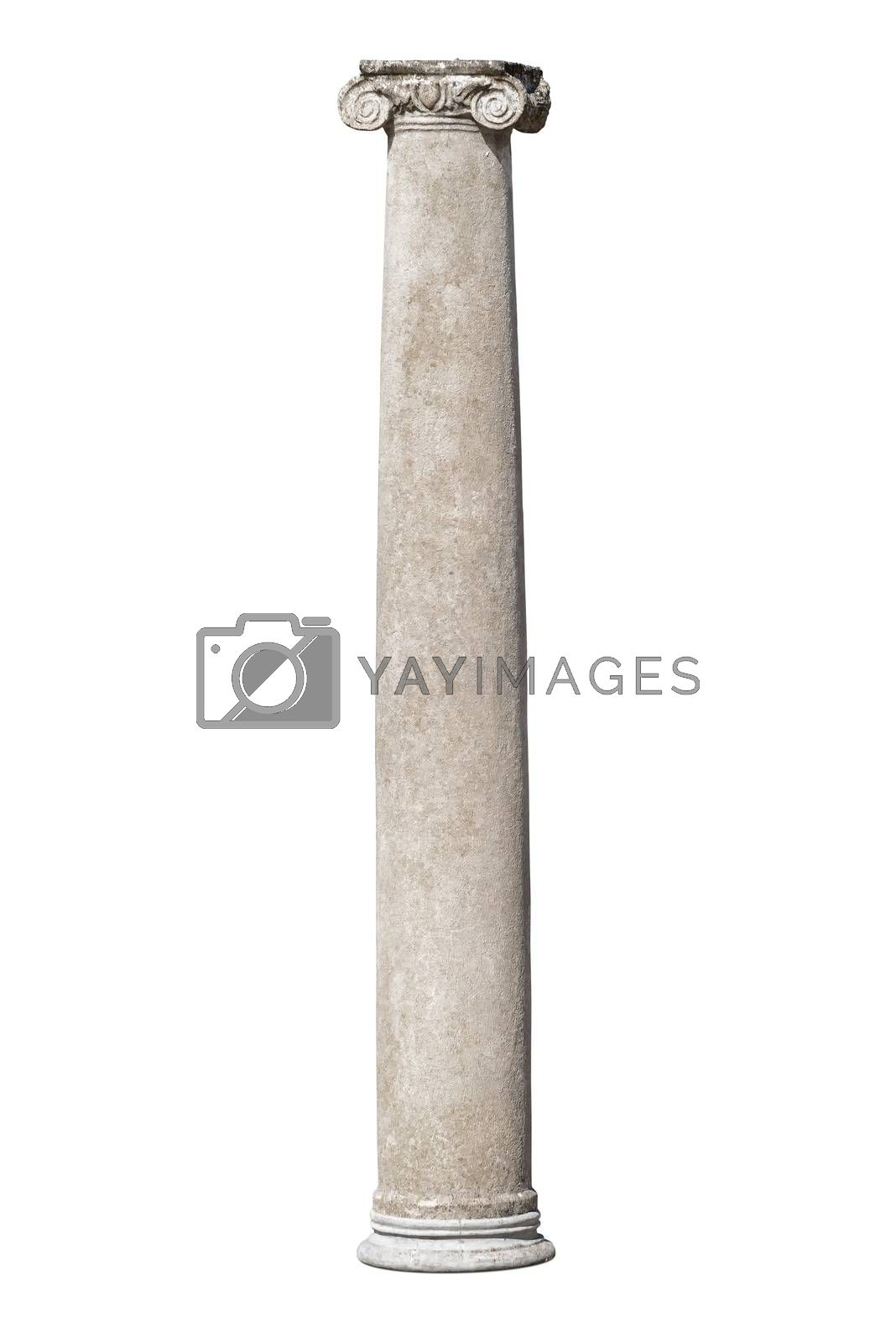 Ancient roman column isolated on white background with clipping path