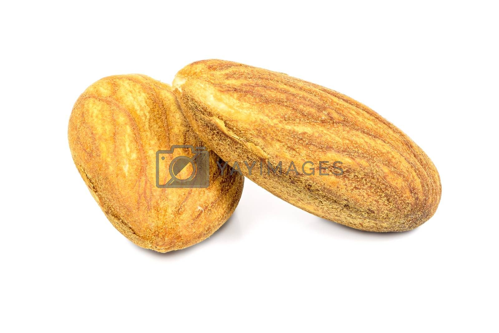 Royalty free image of Almond nuts on white background by mkos83