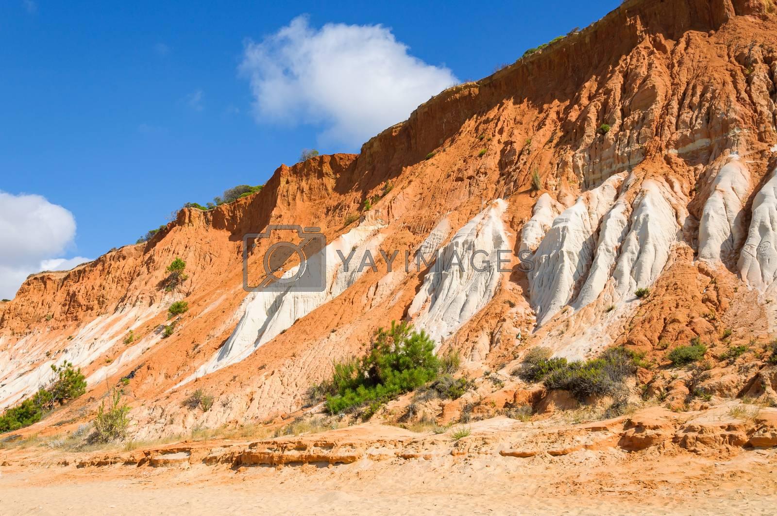 Red cliffs at Falesia Beach in Algarve region, Portugal