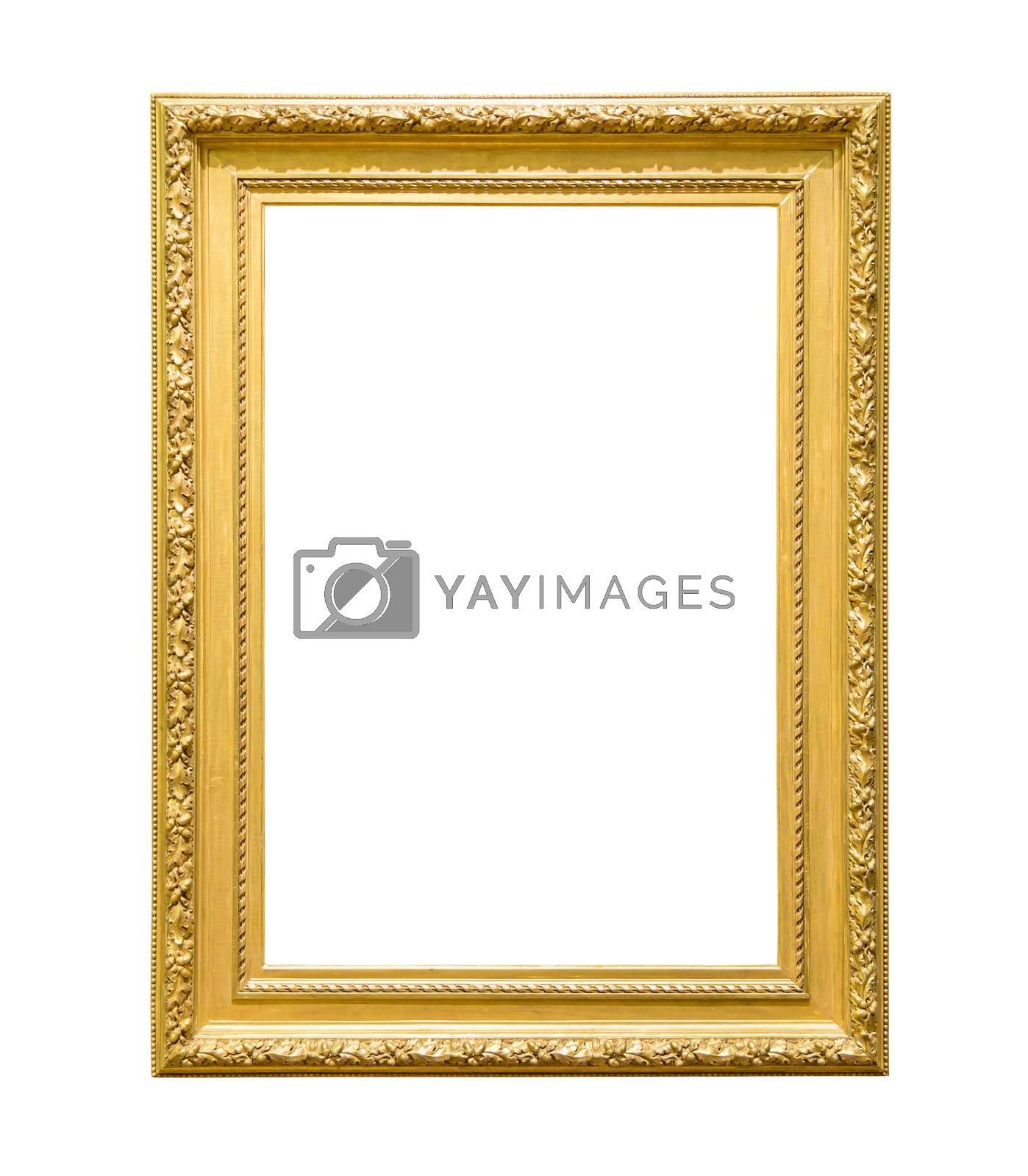 Royalty free image of Portrait golden decorative picture frame on white background by mkos83