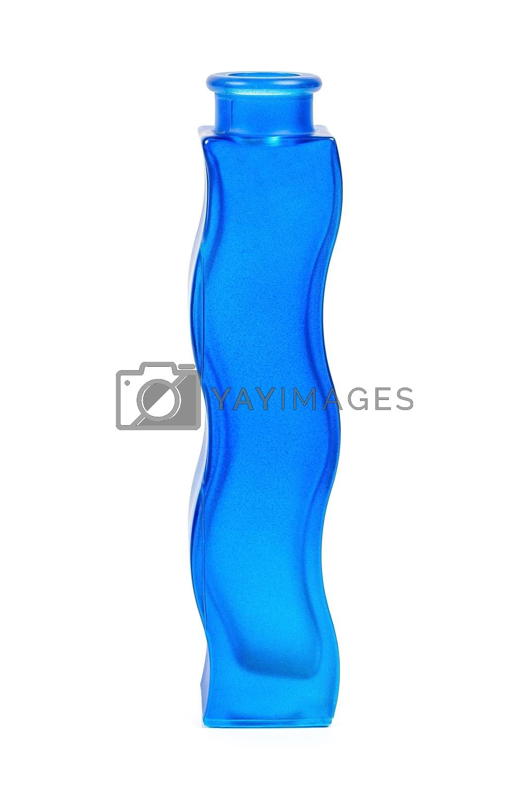 Royalty free image of Decorative empty glass blue flower vase on white background by mkos83