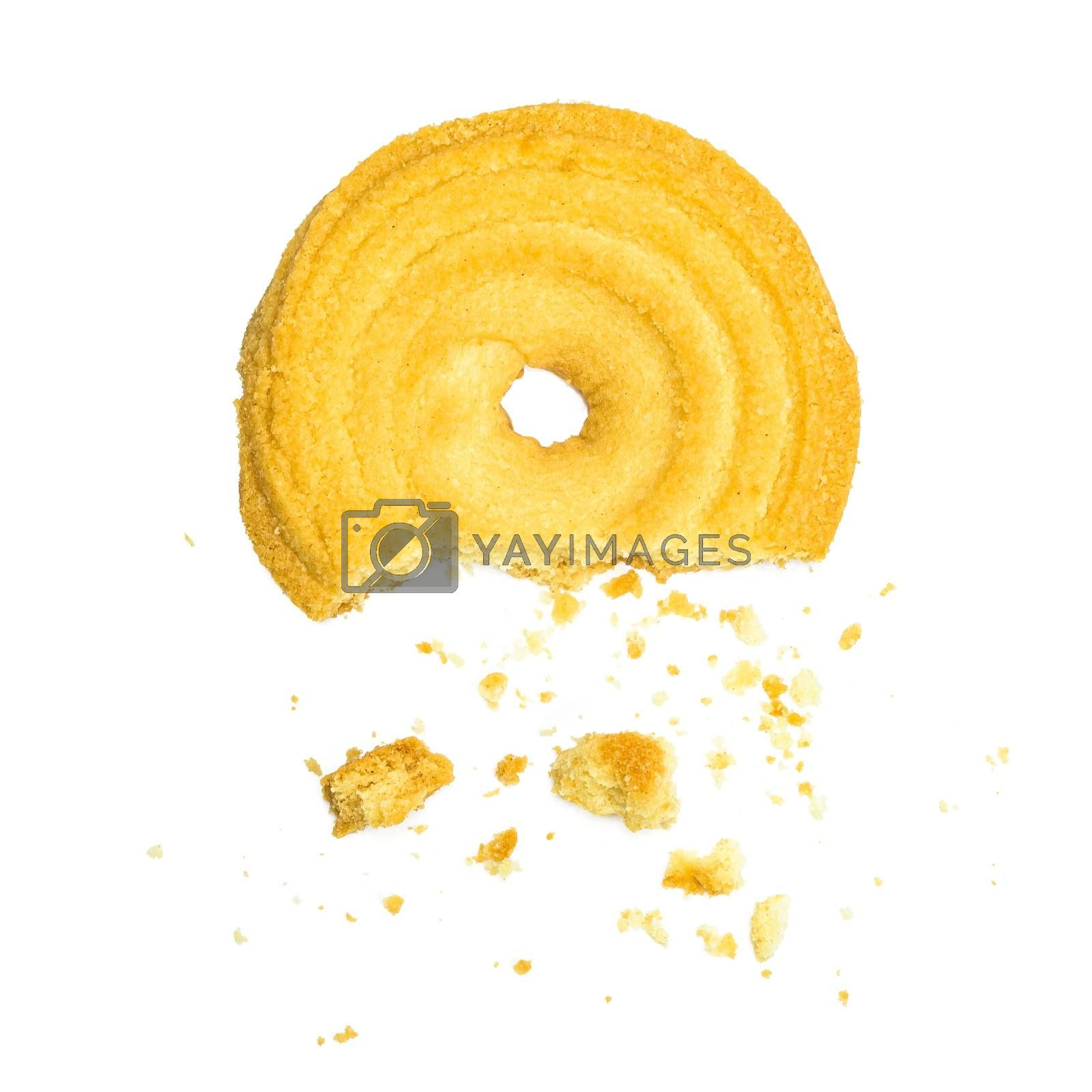 Bitten butter cookie isolated on white background with clipping path