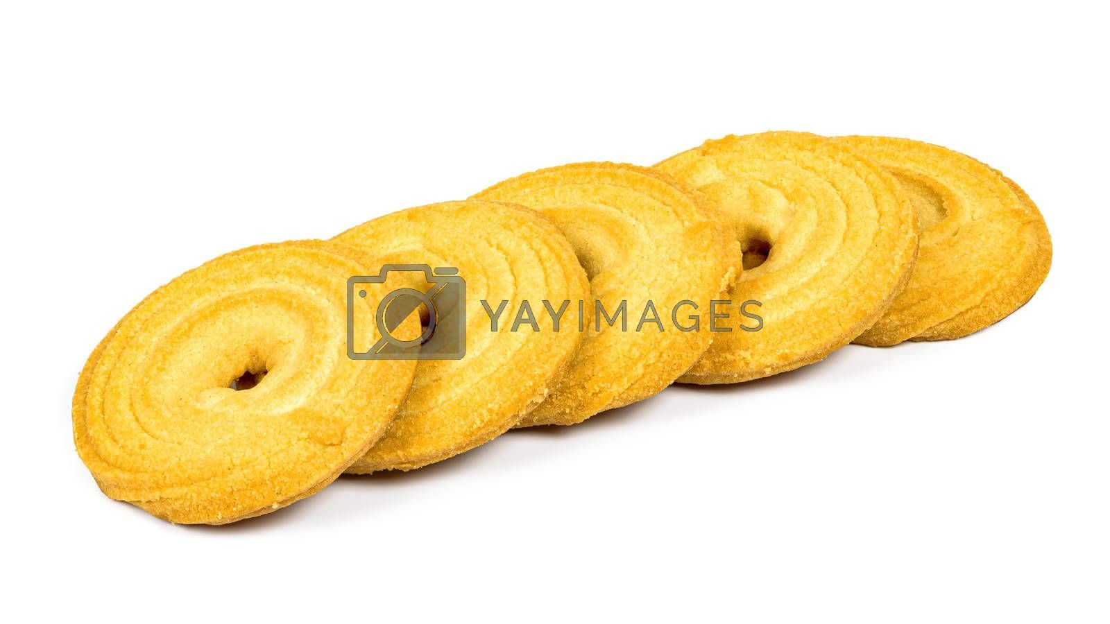 Butter cookies in a row isolated on white background with clipping path