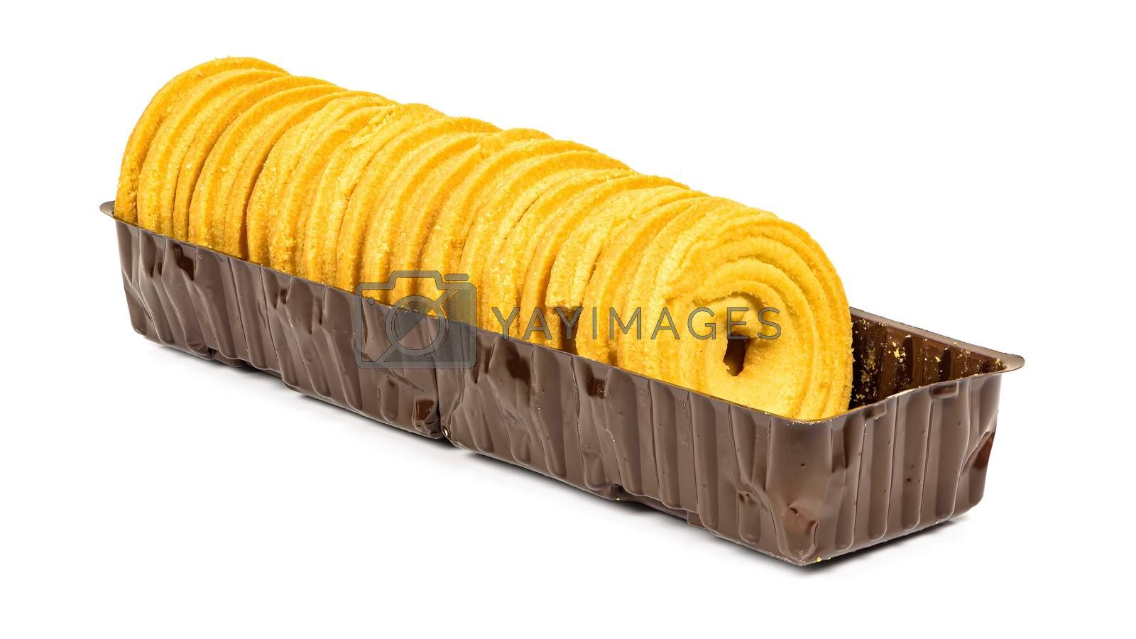 Butter cookies in a box isolated on white background with clipping path
