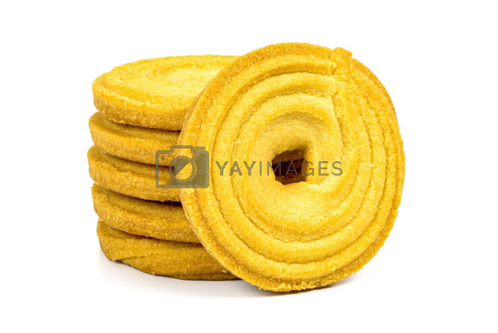 Stack of butter cookies isolated on white background with clipping path