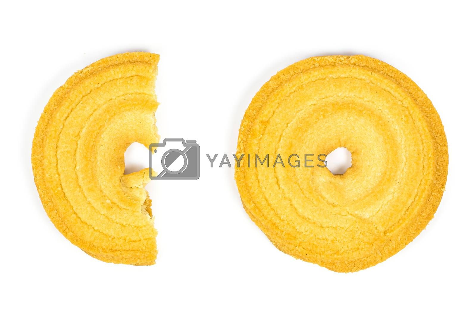 Top view of butter cookies isolated on white background with clipping path
