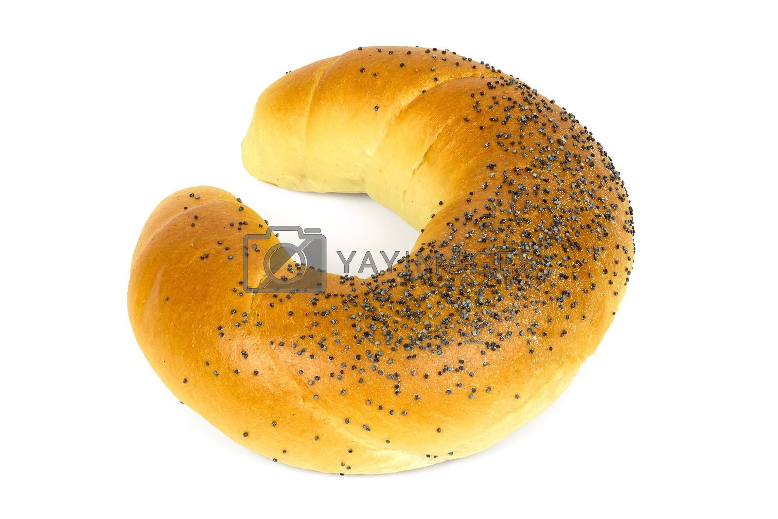 Crescent roll with poppy seeds isolated on white background with clipping path