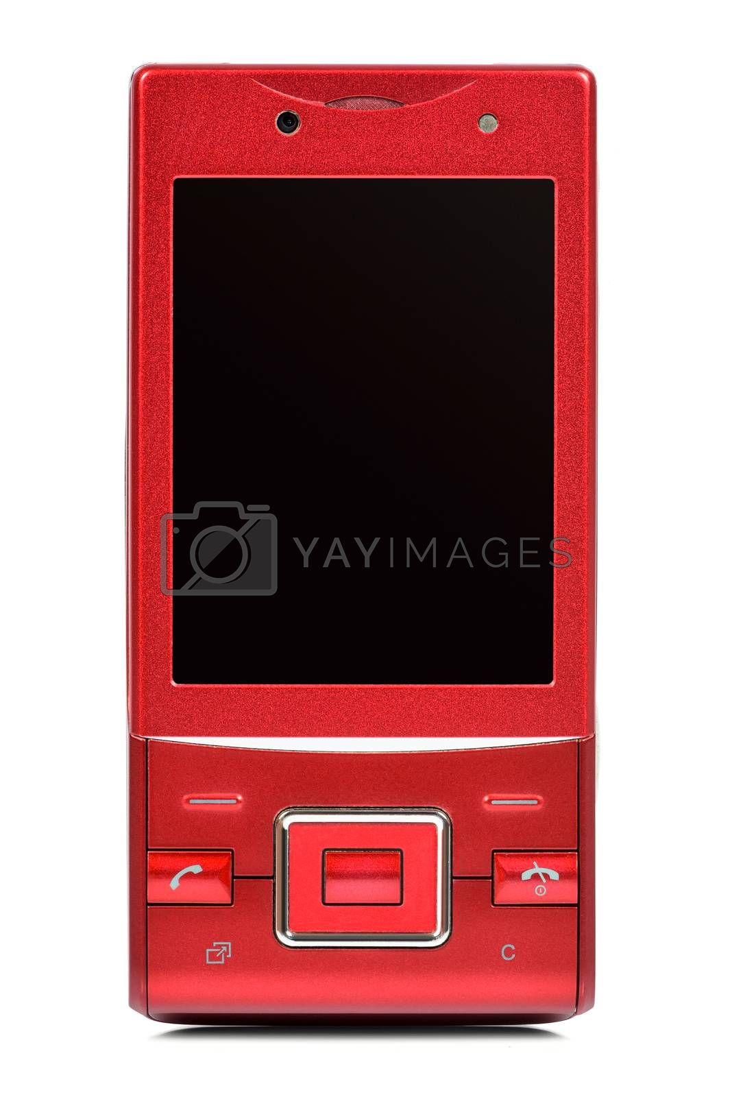 Red vintage slider phone isolated on white background with clipping path