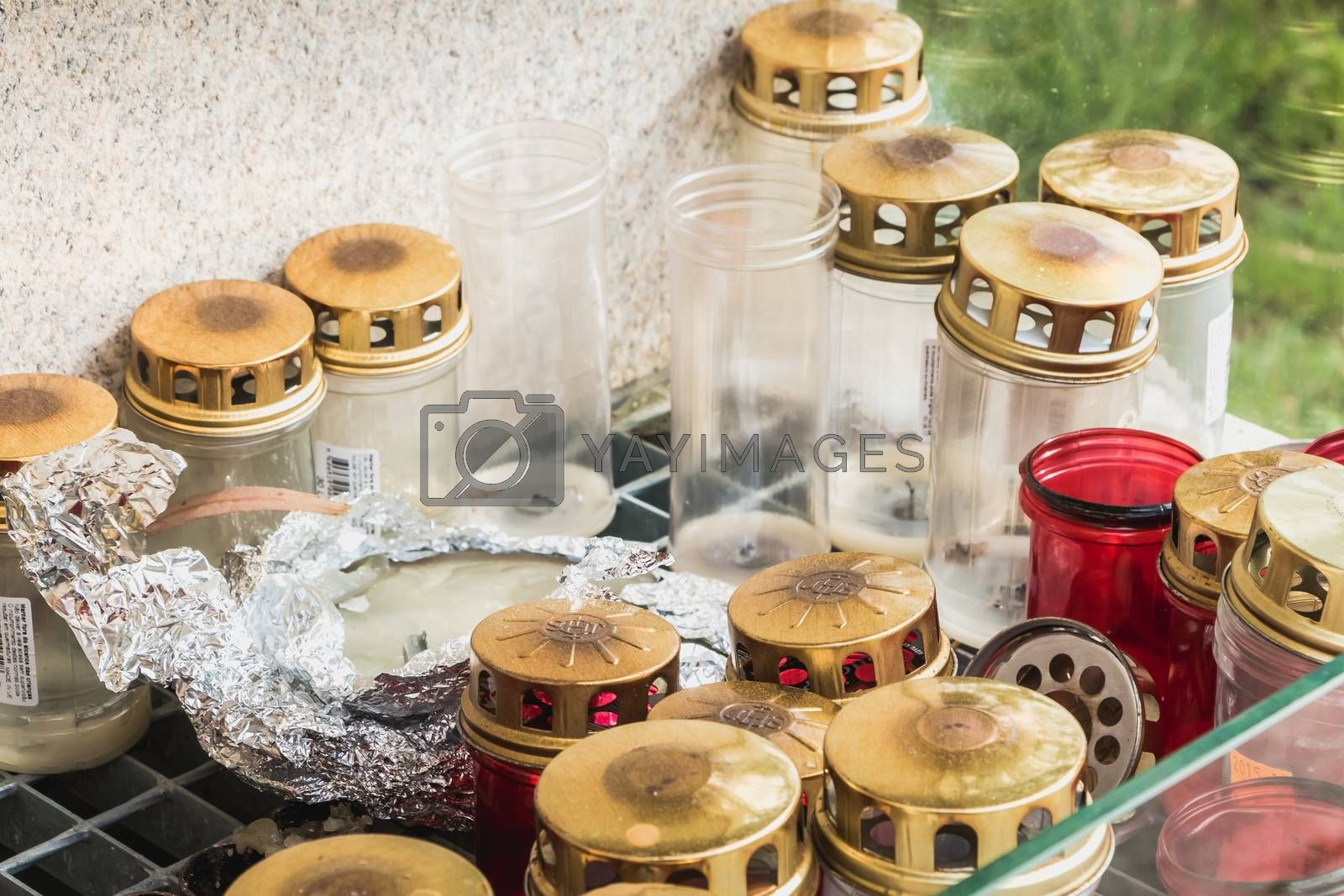 Vila Cha near Esposende, Portugal - May 9, 2018: candlestick protected by a glass outside the chapel of S. Lourenco on the heights of the city on a spring day