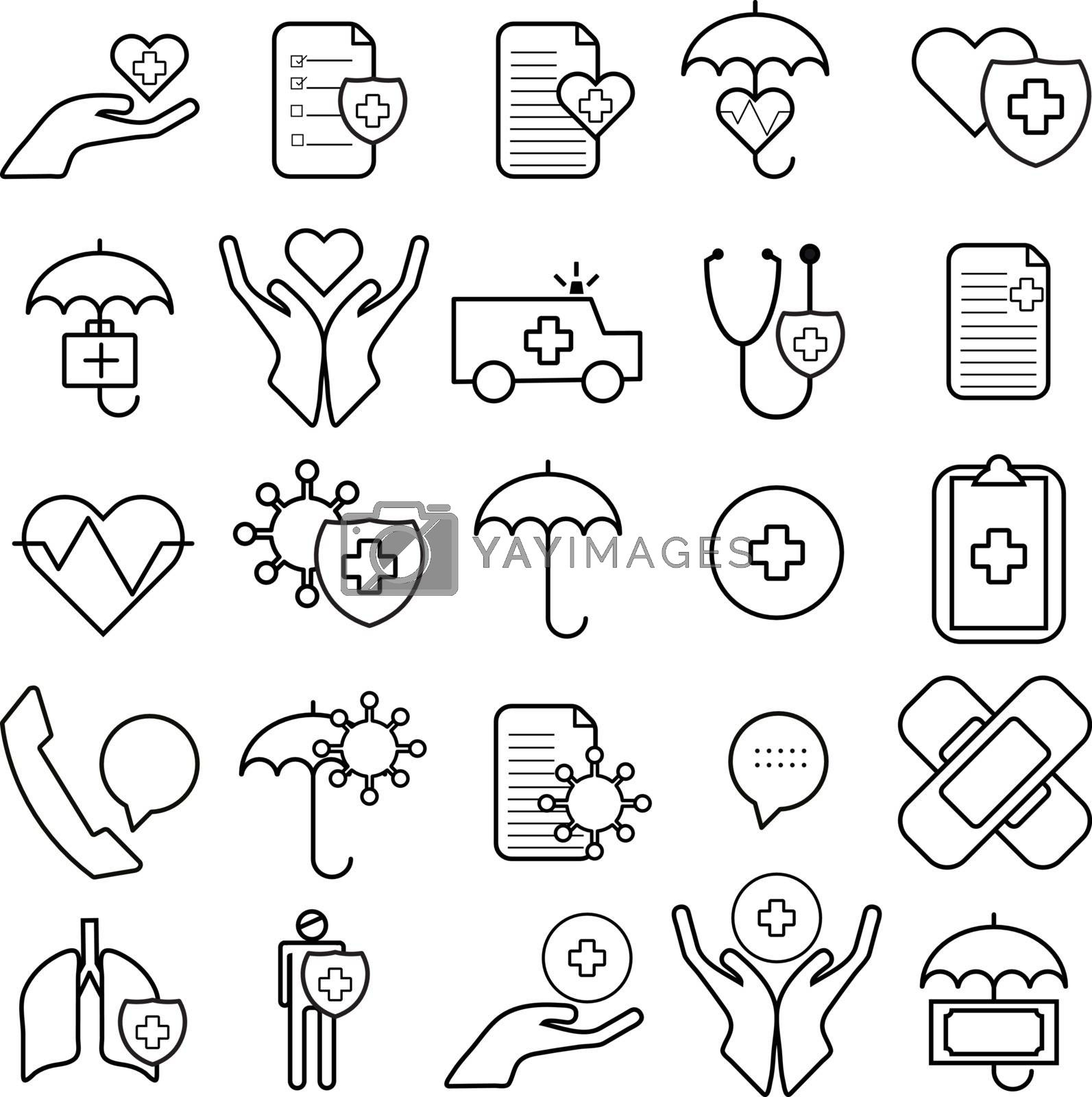 Flat and thin line icons set, health insurance icon, vector illustration