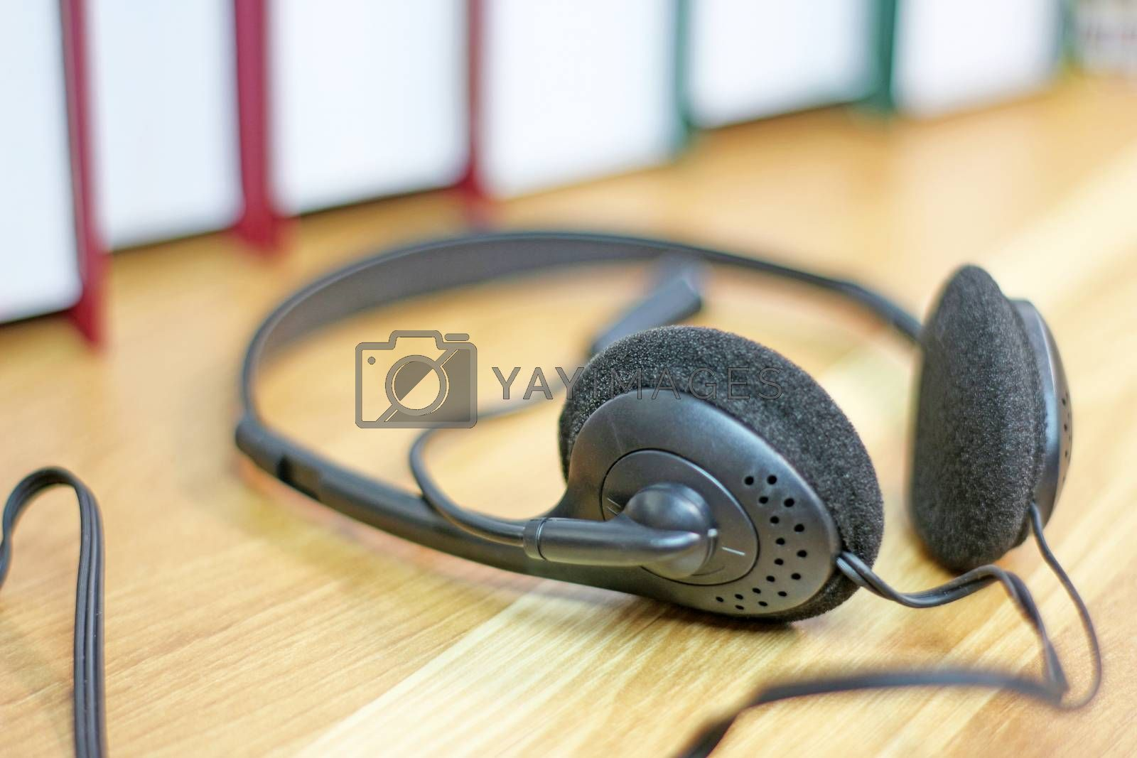 VOIP communication headset support, call center operator and customer service desk work
