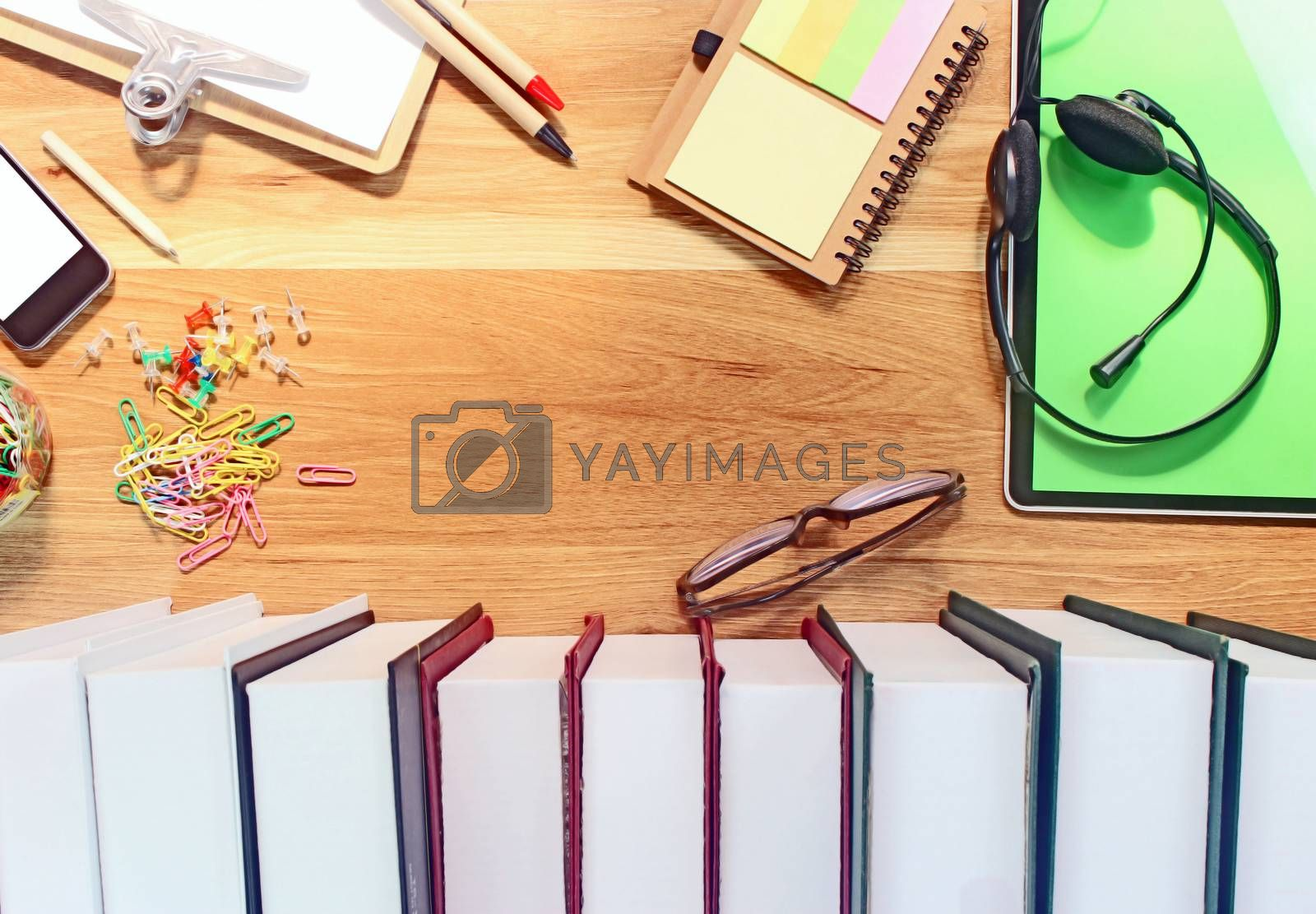 Flat lay, top view office table desk. Workspace with office equipments on wood desk work background