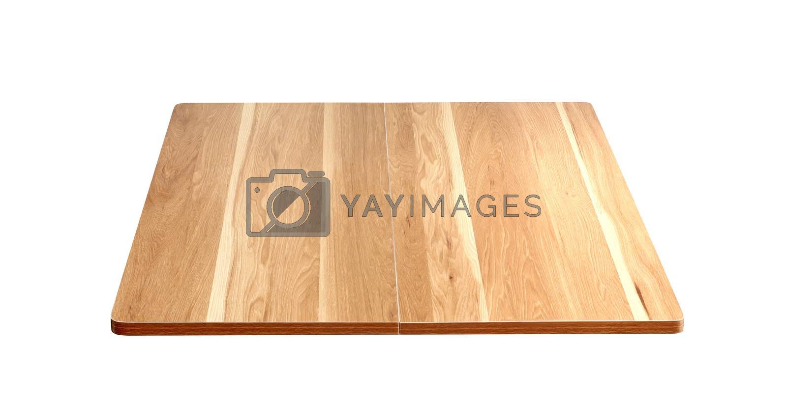 Brown empty wooden table top isolated on white background
