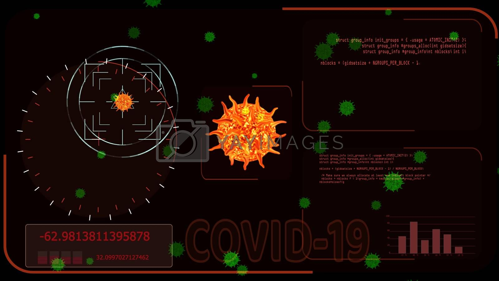 orange red virus covid 19 was detedted by digital radar analysis information to find vaccine and medicine another green virus on red screen