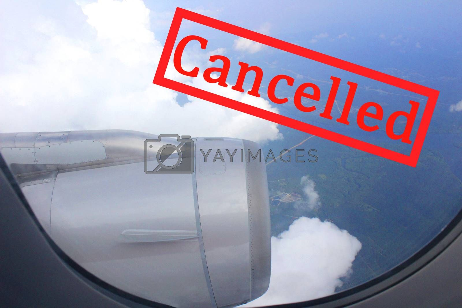 Covid 19 cancellation of all flying lines and trips due to the Covid 19 virus outbreak.Coronavirus flight cancelled concept