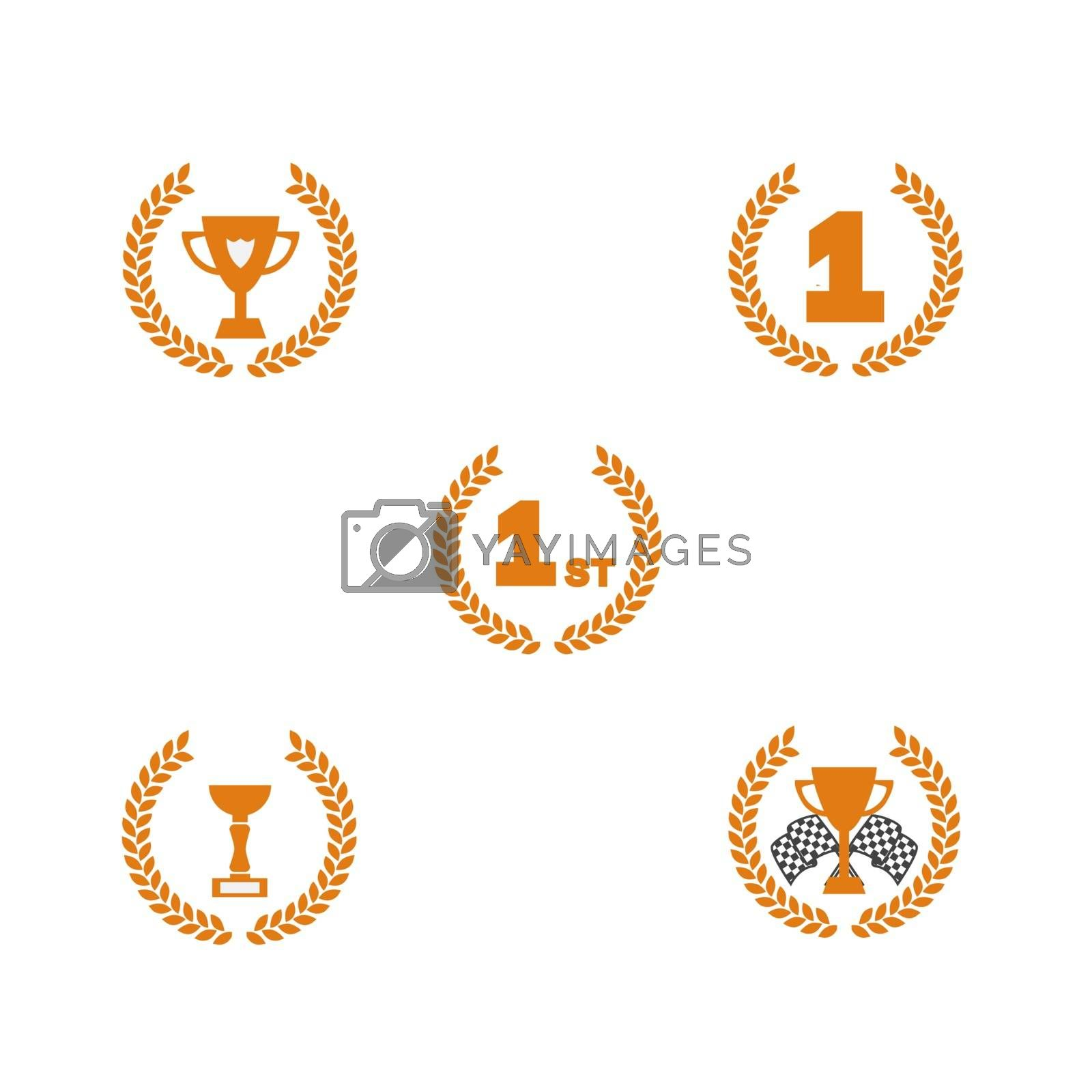 Award winning icon set. Simple flat symbols. Sports and race first place championship gold wreath medal and cup. Competition winner award. Victory icon. Isolated graphic illustration win icon set first place award