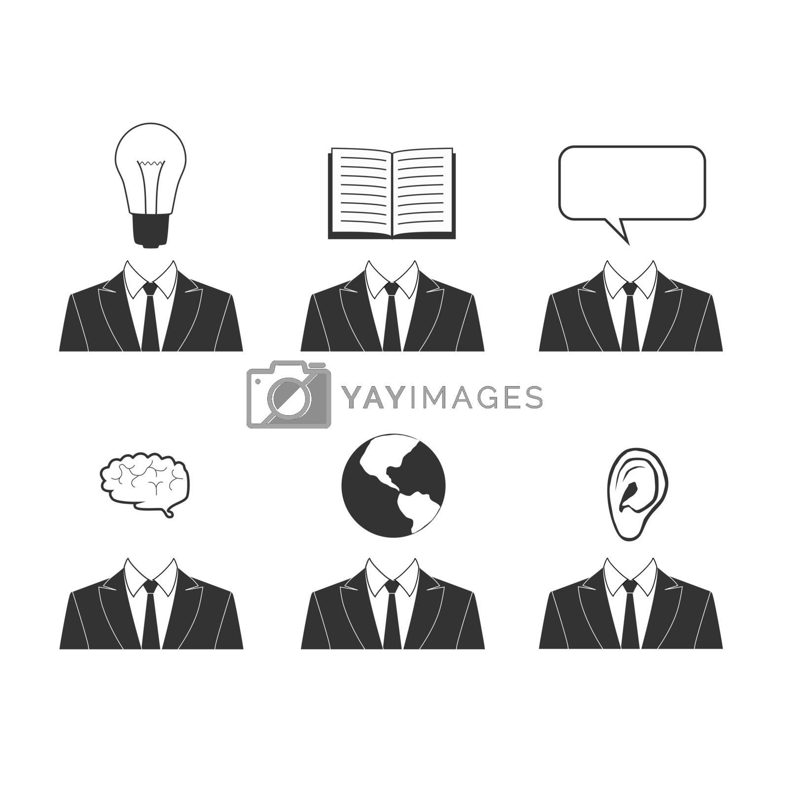 Education and business simple icon set. Symbols for knowledge, success, idea, communication. Black flat signs: light bulb, speech bubble, speech cloud. Vector illustration listen read think