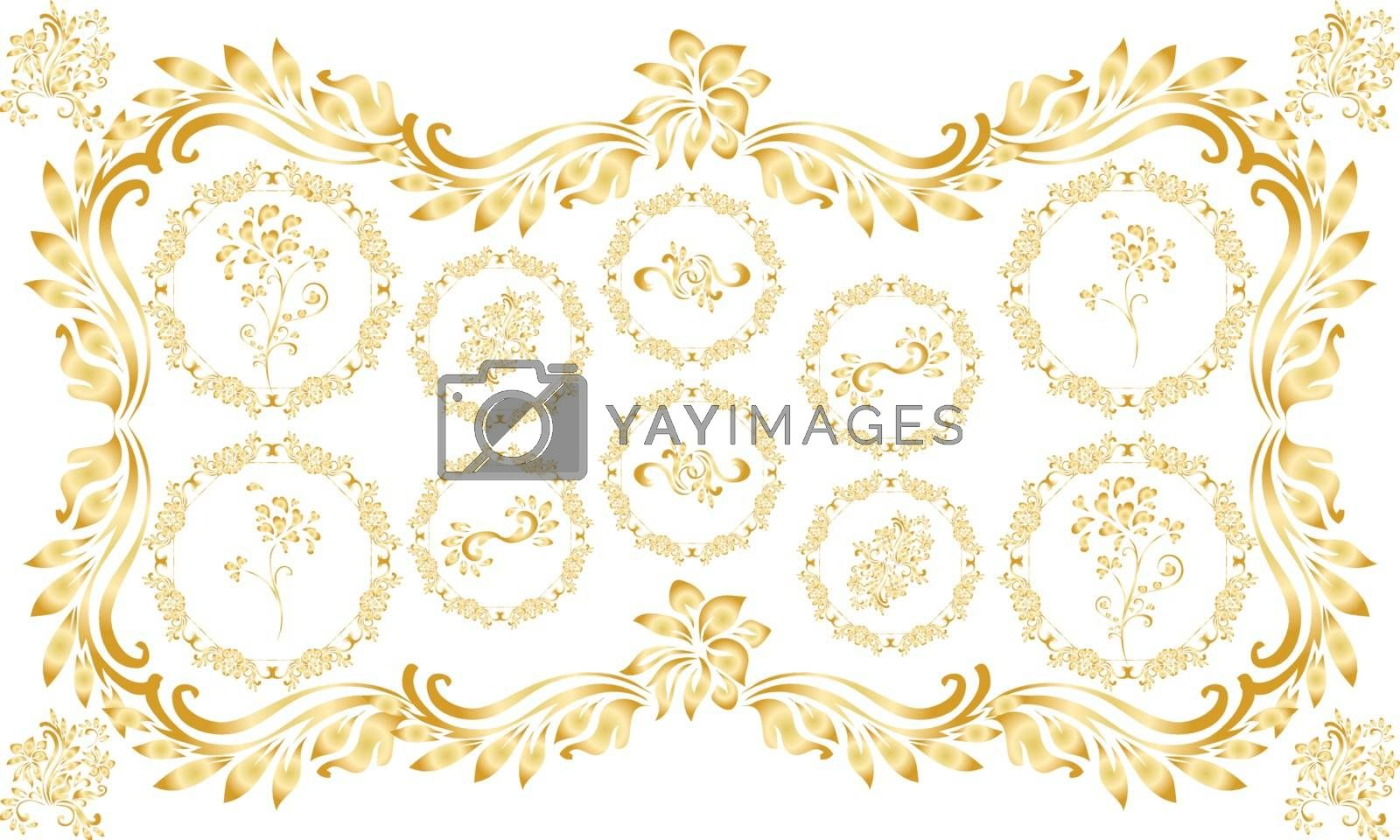 digital textile design ornament flowers and leaves