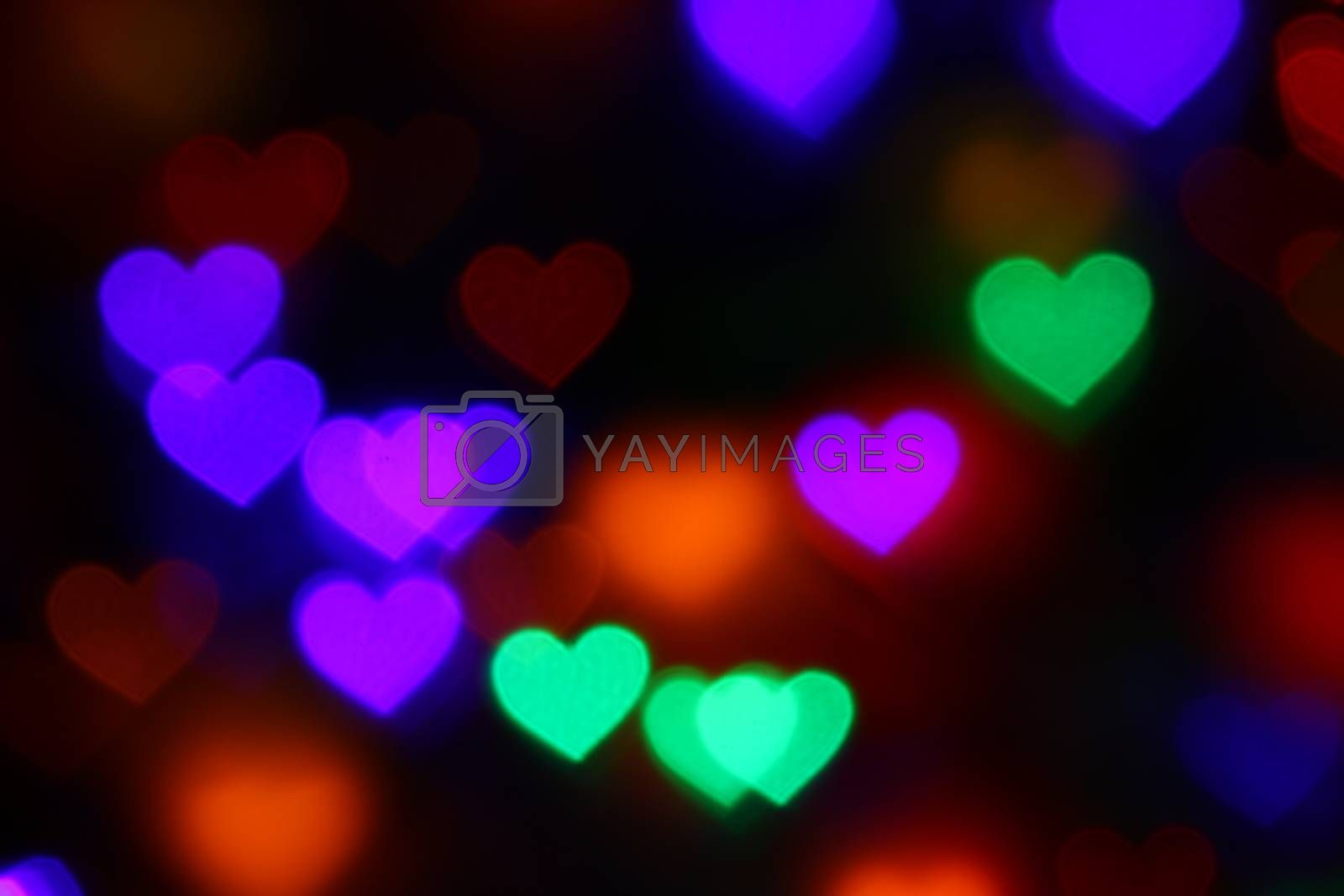 Valentines Colorful heart-shaped bokeh on black background lighting bokeh for decoration at night backdrop wallpaper blur valentine, Love Pictures background, Lighting heart shaped soft night abstract