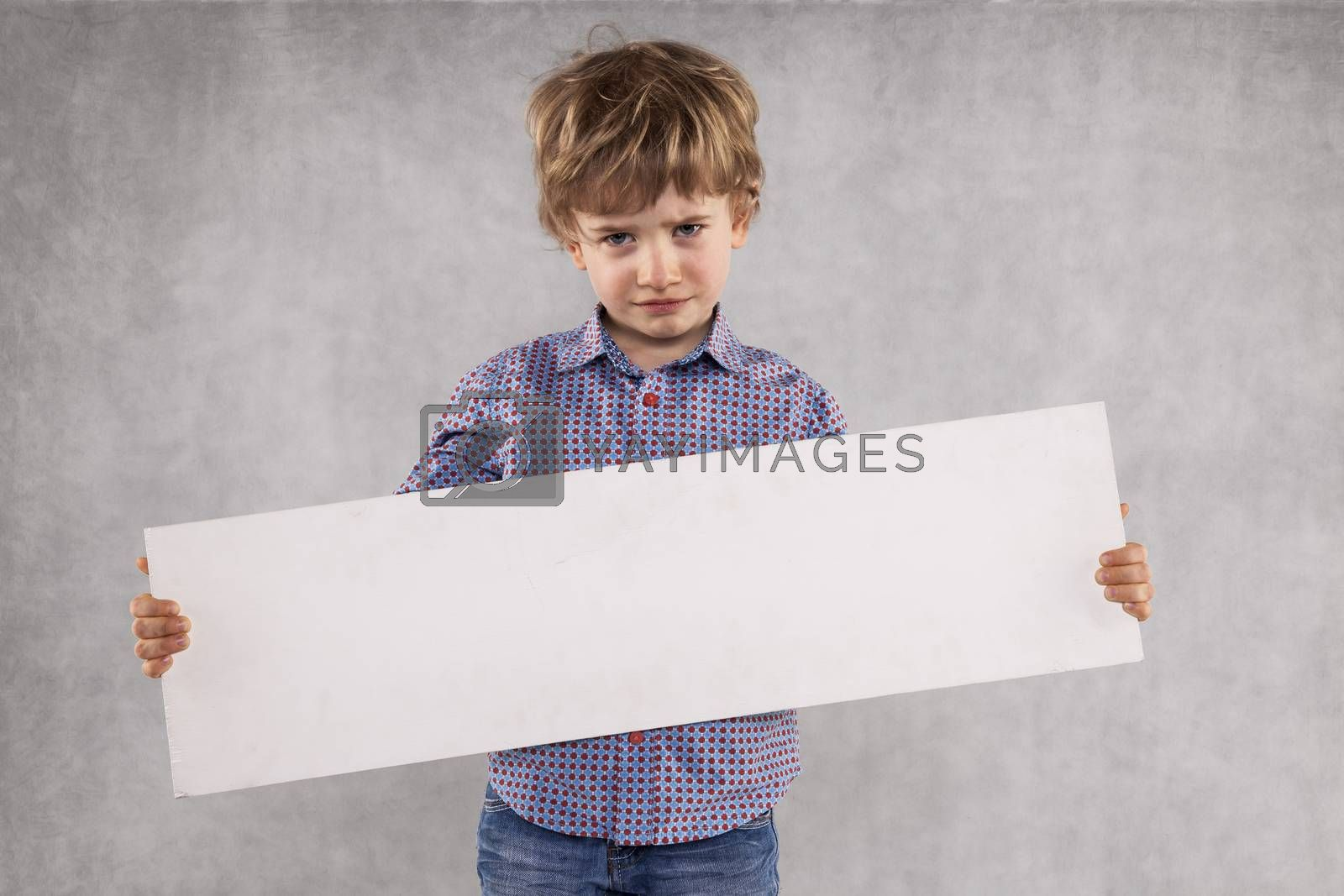 young businessman holds an advertising space for sale, sed face