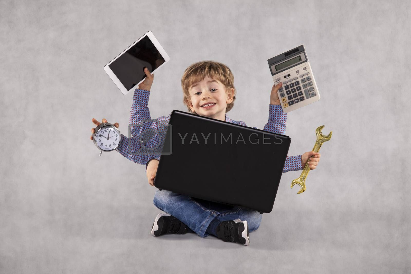 a young businessman can do any job, multitasking person