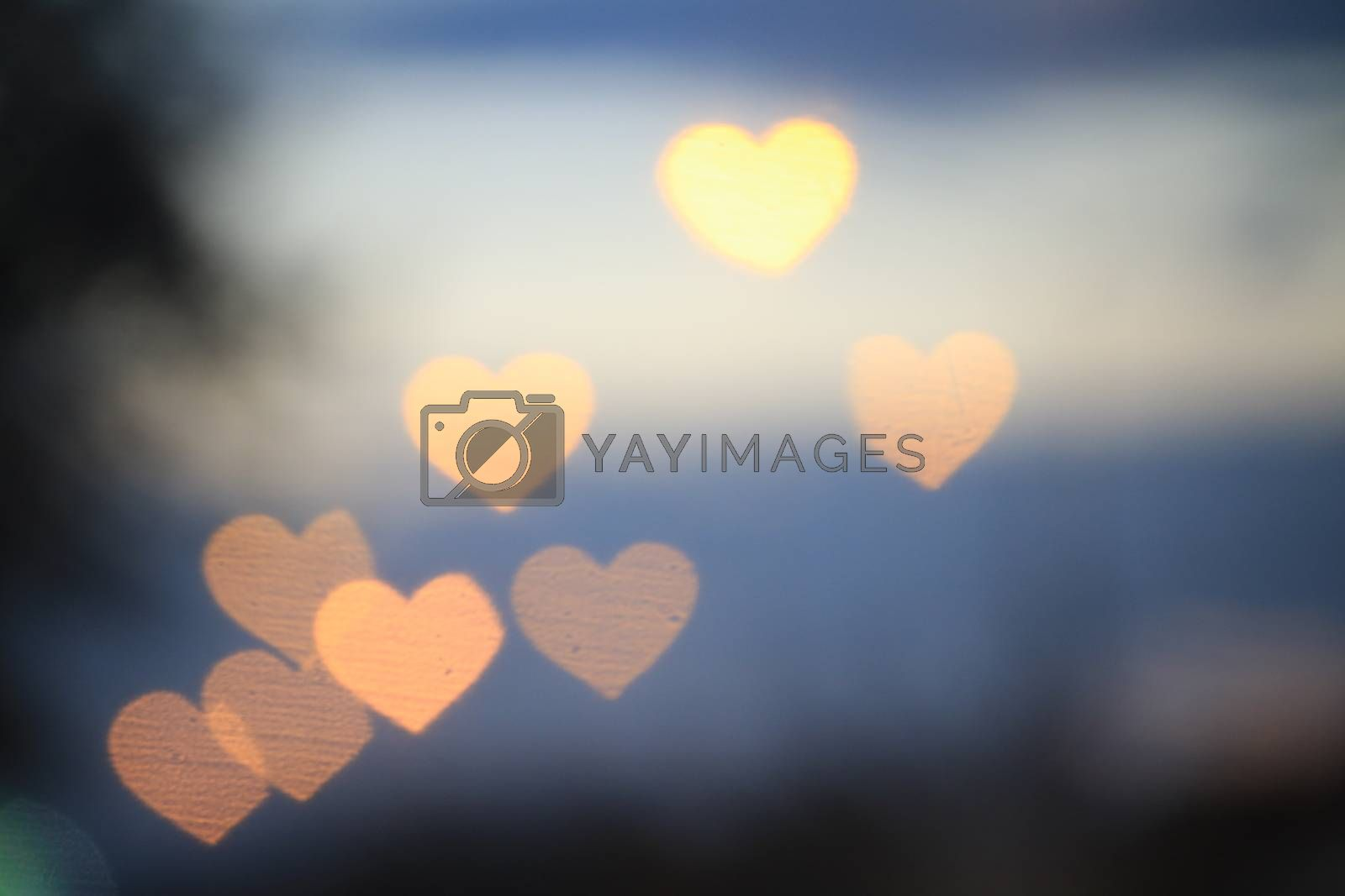Yellow gold heart-shaped on black background Colorful lighting bokeh white for decoration at night backdrop wallpaper blurred valentine, Love Pictures background, Lighting heart shaped soft night
