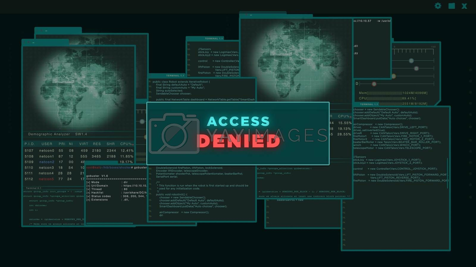 Access Denied - HUD or vitual interface of hacker trying to hack server data
