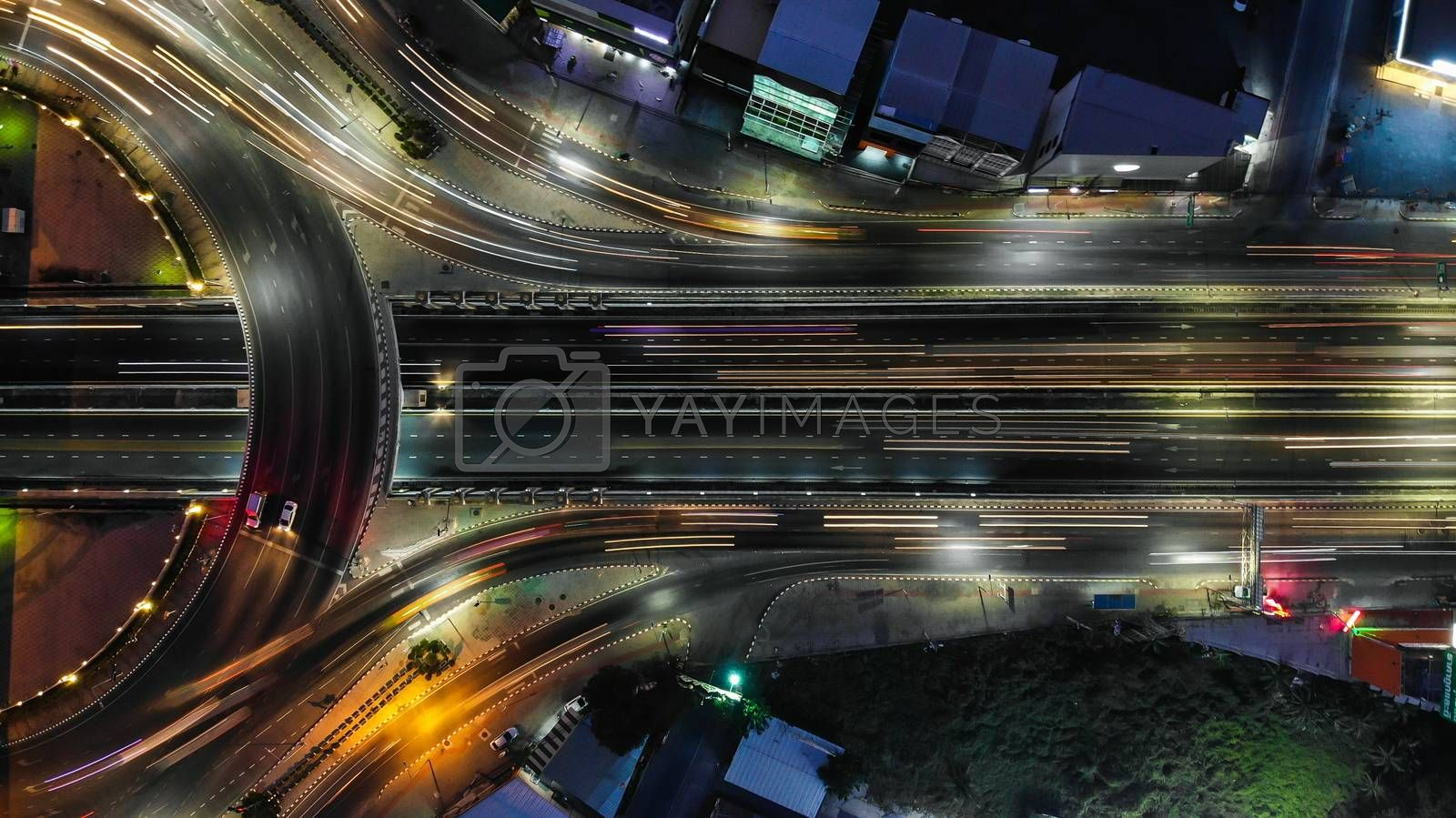 Expressway top view, Road traffic an important infrastructure in Thailand