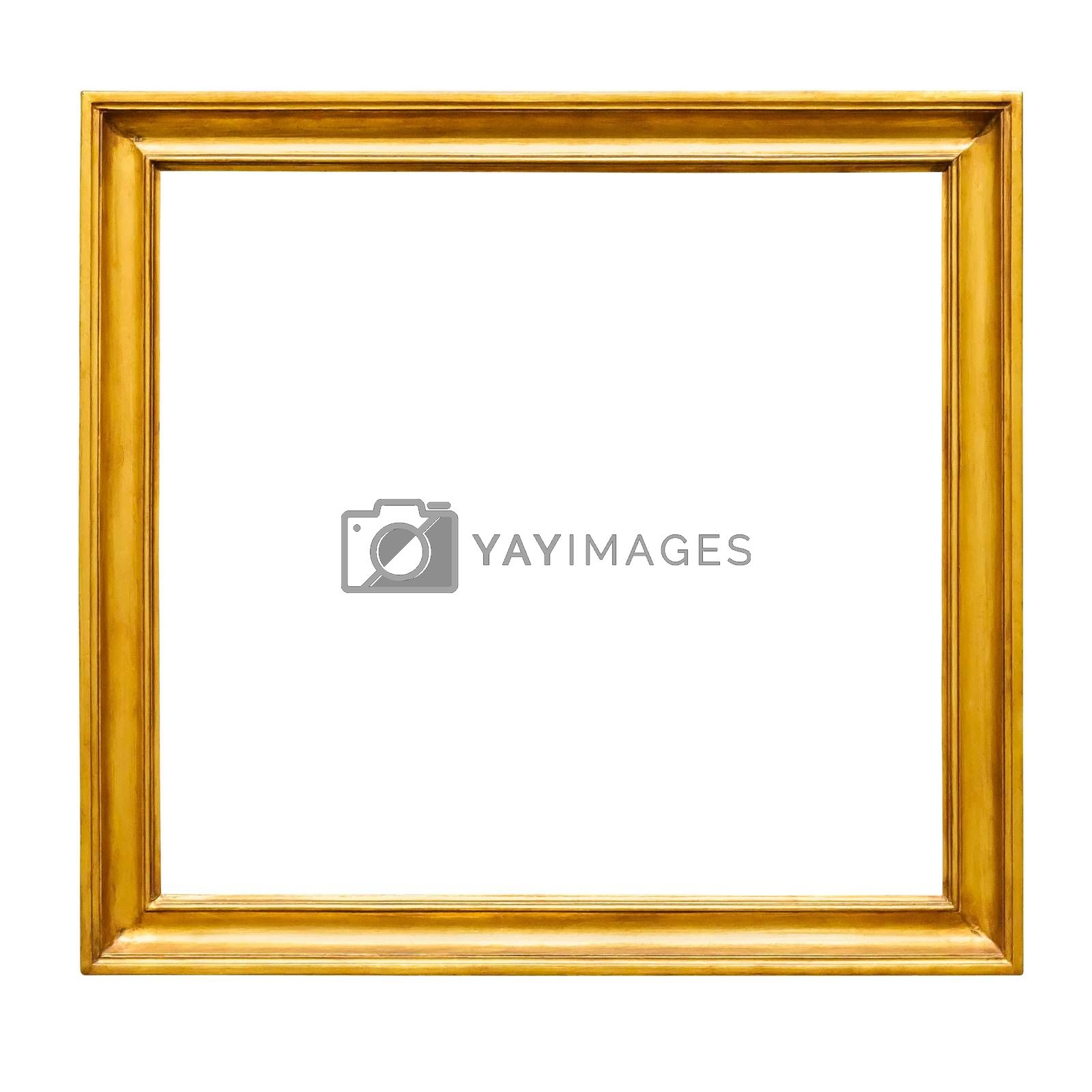 Square decorative golden picture frame isolated on white background with clipping path