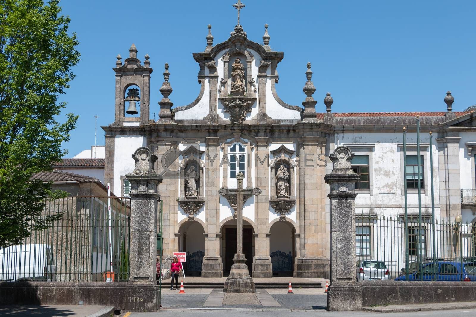 Guimaraes, Portugal - May 10, 2018: Convent of Santo Antonio dos Capuchos in the historic city center as tourists visit on a spring day