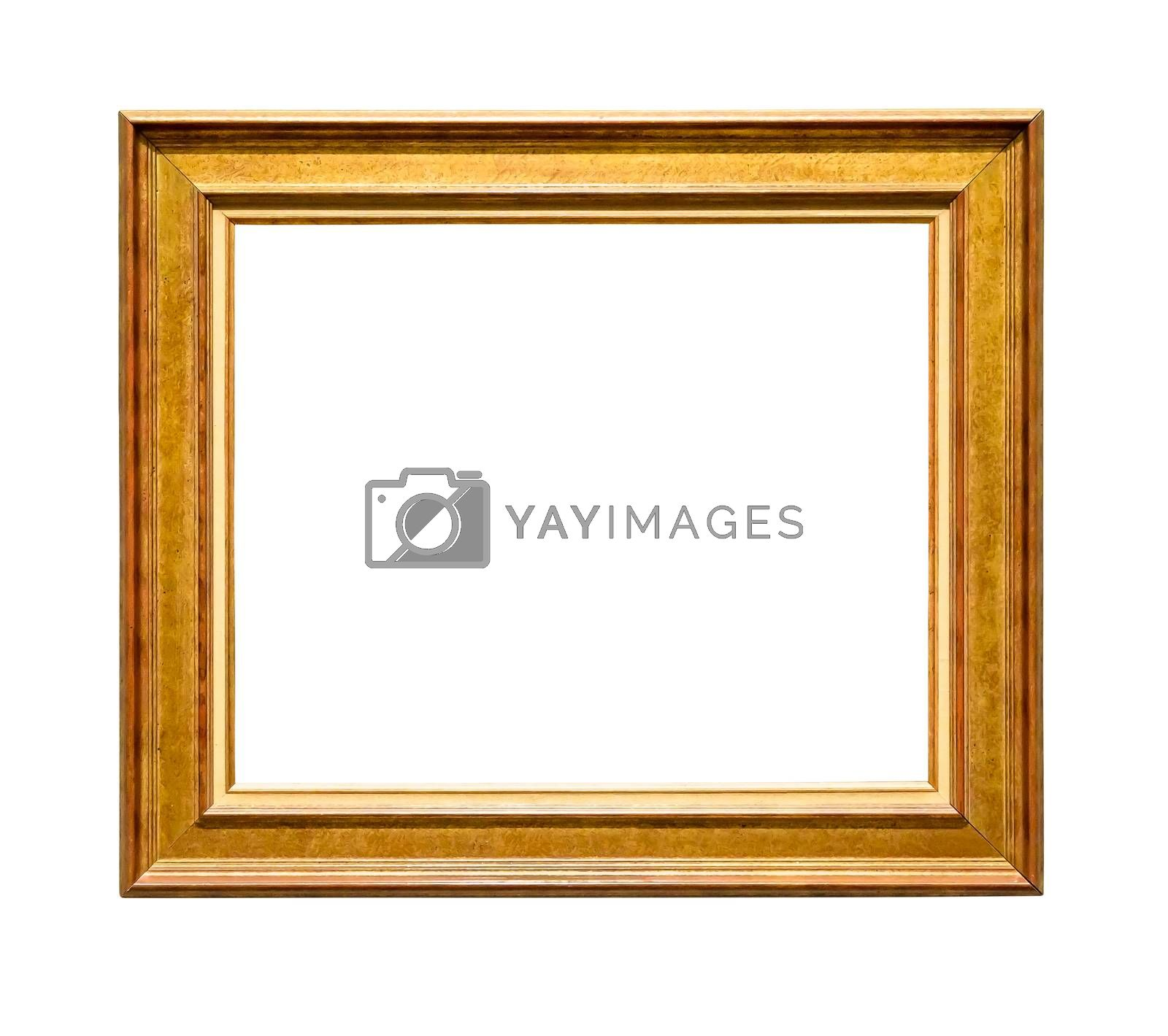 Royalty free image of Wooden decorative picture frame with golden insets on white background by mkos83