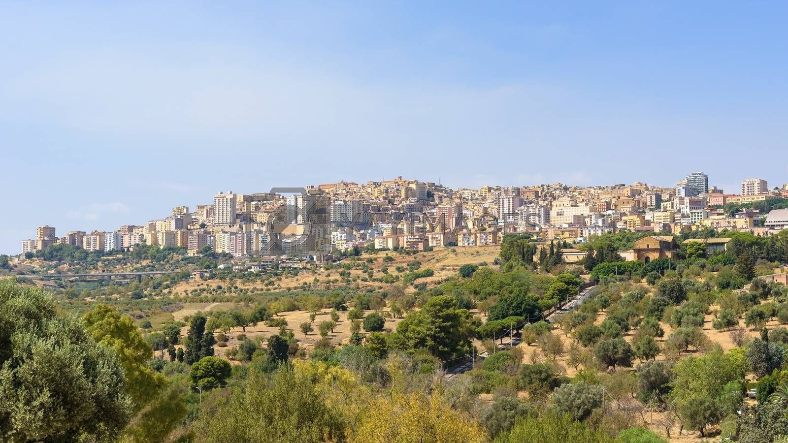 Panoramic view of Agrigento city on the southern coast of Sicily, Italy