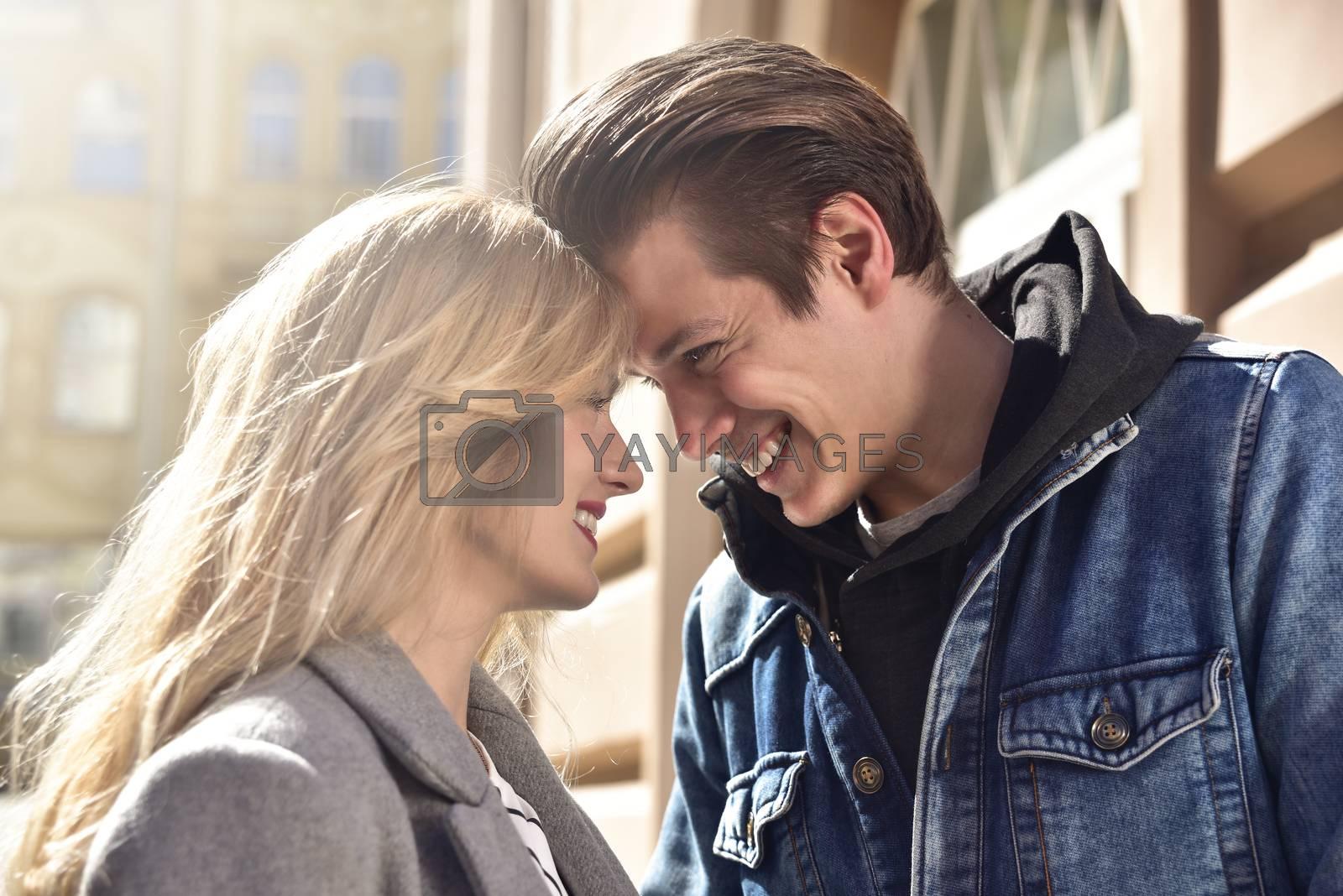 Close up photo of happyness couple , sunny day