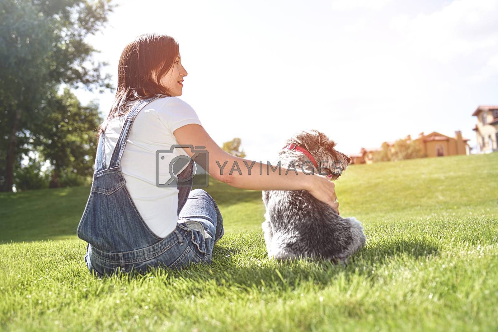 Pretty adult caucasian happy woman resting in the park on a sunny day with her beloved dog. happy caucasian woman hugs her beloved dog. love animals