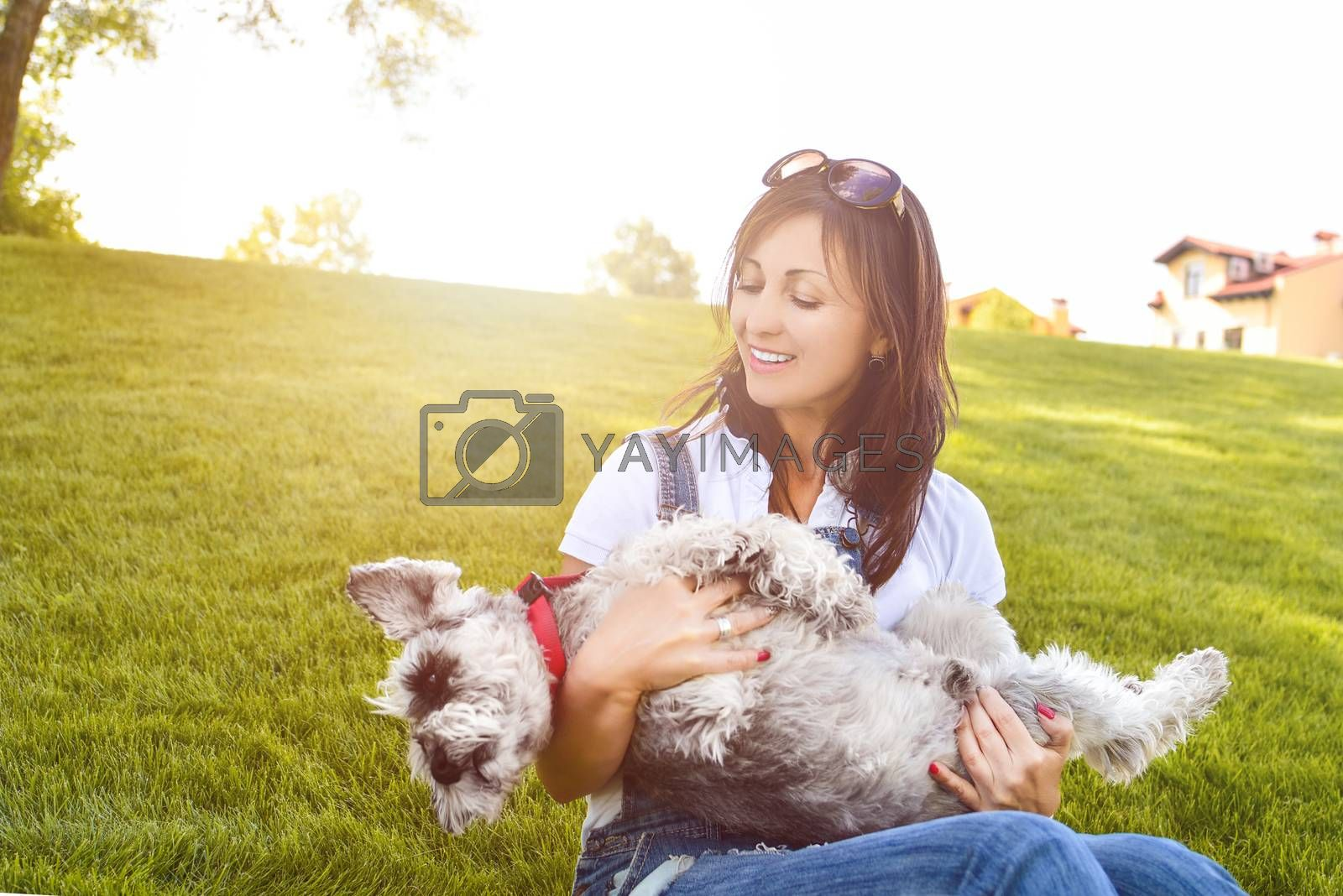 Portrait of a happy caucasian woman who hugs her beloved dog.The concept of love for animals. best friends. Dog breed Schnauzer. sunny day