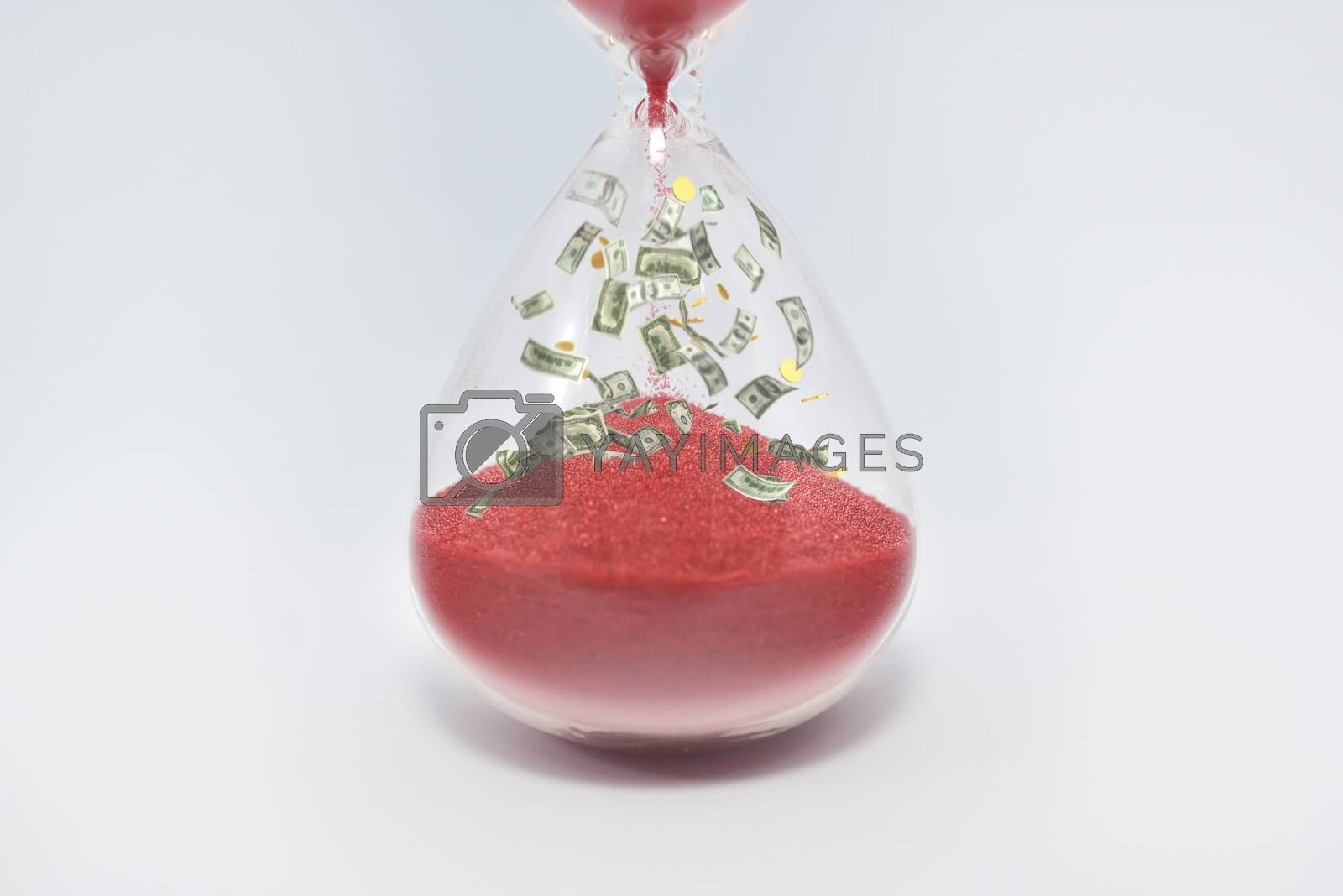Hourglasses and coin isolated on white background. Time as money concept. money inside sandclock
